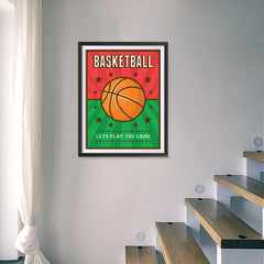 Ezposterprints - Ball Green Red | Retro Sports Series BASKETBALL Posters - 18x24 ambiance display photo sample