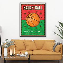 Ezposterprints - Ball Green Red | Retro Sports Series BASKETBALL Posters - 36x48 ambiance display photo sample