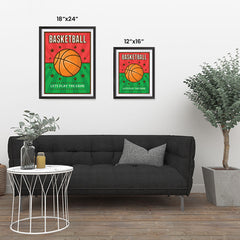 Ezposterprints - Ball Green Red | Retro Sports Series BASKETBALL Posters ambiance display photo sample
