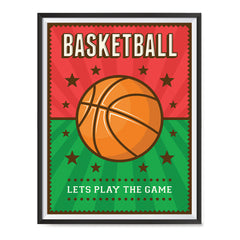 Ezposterprints - Ball Green Red | Retro Sports Series BASKETBALL Posters with frame photo sample