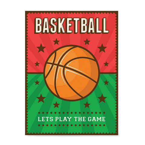 Ezposterprints - Ball Green Red | Retro Sports Series BASKETBALL Posters