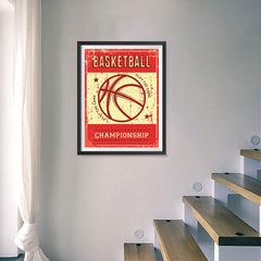 Ezposterprints - Ball Red | Retro Sports Series BASKETBALL Posters - 18x24 ambiance display photo sample