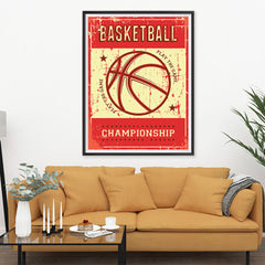 Ezposterprints - Ball Red | Retro Sports Series BASKETBALL Posters - 36x48 ambiance display photo sample