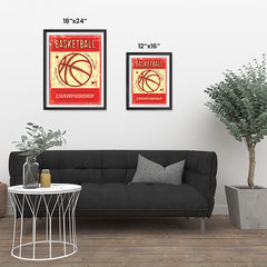 Ezposterprints - Ball Red | Retro Sports Series BASKETBALL Posters ambiance display photo sample