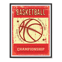 Ezposterprints - Ball Red | Retro Sports Series BASKETBALL Posters with frame photo sample
