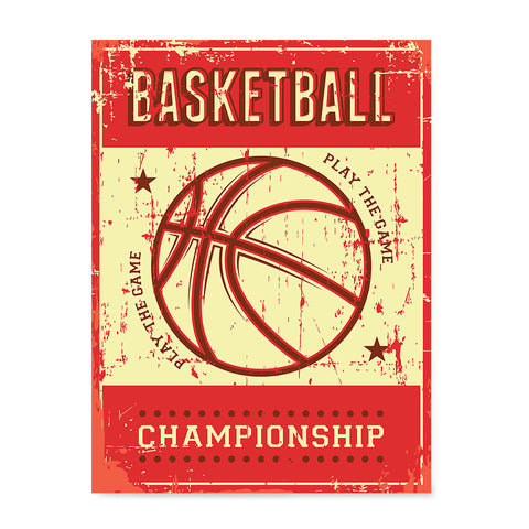Ezposterprints - Ball Red | Retro Sports Series BASKETBALL Posters