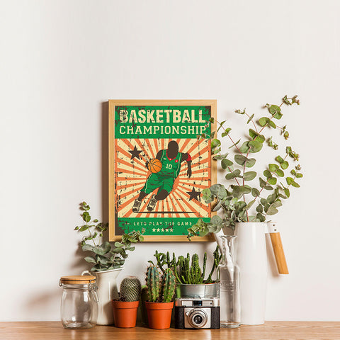 Ezposterprints - Player Green | Retro Sports Series BASKETBALL Posters - 12x16 ambiance display photo sample