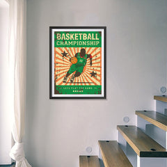 Ezposterprints - Player Green | Retro Sports Series BASKETBALL Posters - 18x24 ambiance display photo sample