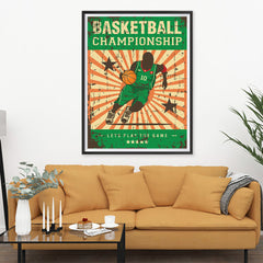 Ezposterprints - Player Green | Retro Sports Series BASKETBALL Posters - 36x48 ambiance display photo sample