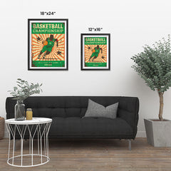 Ezposterprints - Player Green | Retro Sports Series BASKETBALL Posters ambiance display photo sample