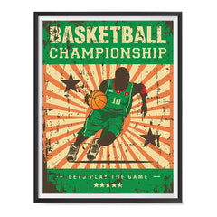 Ezposterprints - Player Green | Retro Sports Series BASKETBALL Posters with frame photo sample