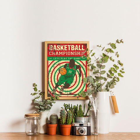 Ezposterprints - Player Green Red | Retro Sports Series BASKETBALL Posters - 12x16 ambiance display photo sample