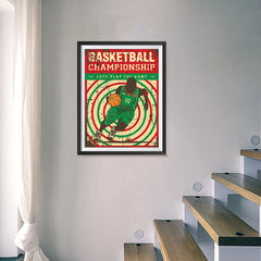 Ezposterprints - Player Green Red | Retro Sports Series BASKETBALL Posters - 18x24 ambiance display photo sample