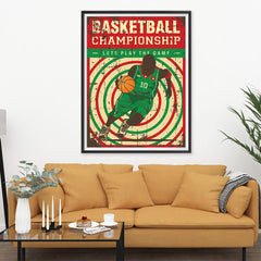 Ezposterprints - Player Green Red | Retro Sports Series BASKETBALL Posters - 36x48 ambiance display photo sample