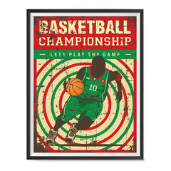 Ezposterprints - Player Green Red | Retro Sports Series BASKETBALL Posters with frame photo sample