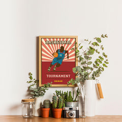 Ezposterprints - Player Red | Retro Sports Series BASKETBALL Posters - 12x16 ambiance display photo sample
