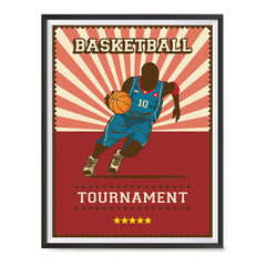Ezposterprints - Player Red | Retro Sports Series BASKETBALL Posters with frame photo sample