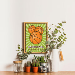 Ezposterprints - Three Balls | Retro Sports Series BASKETBALL Posters - 12x16 ambiance display photo sample