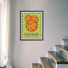 Ezposterprints - Three Balls | Retro Sports Series BASKETBALL Posters - 18x24 ambiance display photo sample