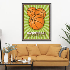 Ezposterprints - Three Balls | Retro Sports Series BASKETBALL Posters - 36x48 ambiance display photo sample