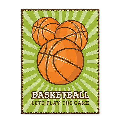 Ezposterprints - Three Balls | Retro Sports Series BASKETBALL Posters