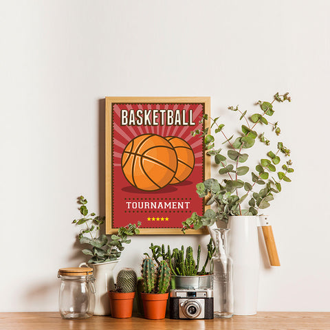 Ezposterprints - Two Balls | Retro Sports Series BASKETBALL Posters - 12x16 ambiance display photo sample