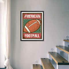 Ezposterprints - Ball Green | Retro Sports Series FOOTBALL Posters - 18x24 ambiance display photo sample