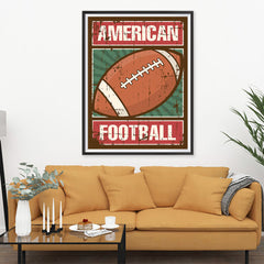 Ezposterprints - Ball Green | Retro Sports Series FOOTBALL Posters - 36x48 ambiance display photo sample