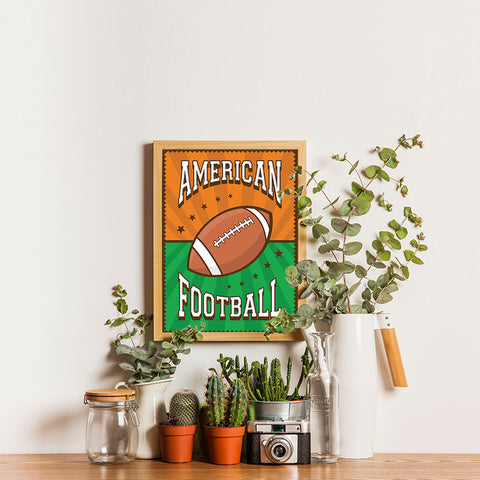Ezposterprints - Ball Green Brown | Retro Sports Series FOOTBALL Posters - 12x16 ambiance display photo sample
