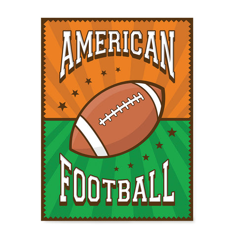 Ezposterprints - Ball Green Brown | Retro Sports Series FOOTBALL Posters