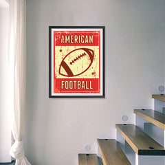 Ezposterprints - Ball Red | Retro Sports Series FOOTBALL Posters - 18x24 ambiance display photo sample