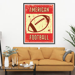 Ezposterprints - Ball Red | Retro Sports Series FOOTBALL Posters - 36x48 ambiance display photo sample
