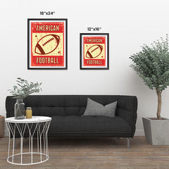 Ezposterprints - Ball Red | Retro Sports Series FOOTBALL Posters ambiance display photo sample