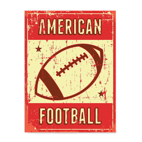 Ezposterprints - Ball Red | Retro Sports Series FOOTBALL Posters