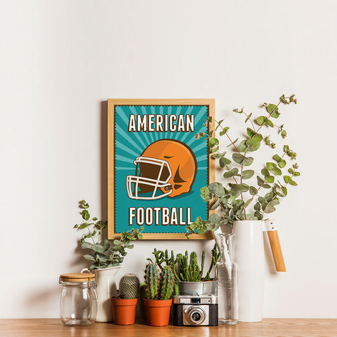 Ezposterprints - Helmet Green | Retro Sports Series FOOTBALL Posters - 12x16 ambiance display photo sample