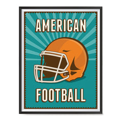 Ezposterprints - Helmet Green | Retro Sports Series FOOTBALL Posters with frame photo sample