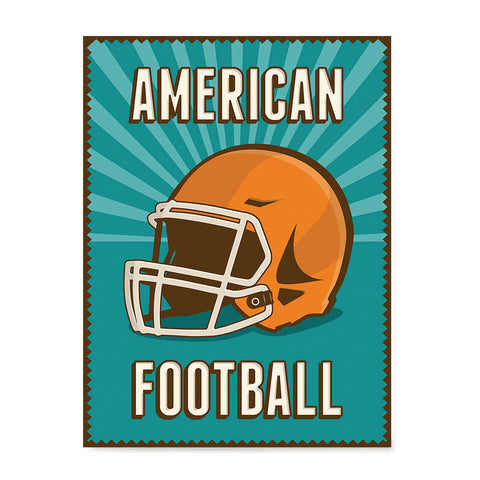 Ezposterprints - Helmet Green | Retro Sports Series FOOTBALL Posters