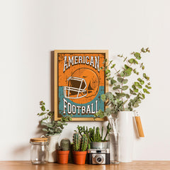 Ezposterprints - Helmet Orange Green | Retro Sports Series FOOTBALL Posters - 12x16 ambiance display photo sample