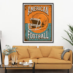 Ezposterprints - Helmet Orange Green | Retro Sports Series FOOTBALL Posters - 36x48 ambiance display photo sample