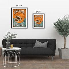Ezposterprints - Helmet Orange Green | Retro Sports Series FOOTBALL Posters ambiance display photo sample