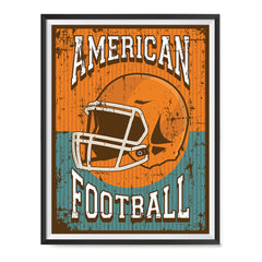 Ezposterprints - Helmet Orange Green | Retro Sports Series FOOTBALL Posters with frame photo sample