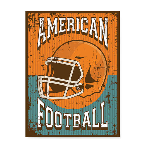 Ezposterprints - Helmet Orange Green | Retro Sports Series FOOTBALL Posters