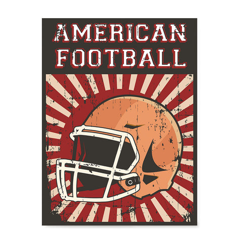 Ezposterprints - Helmet Red | Retro Sports Series FOOTBALL Posters