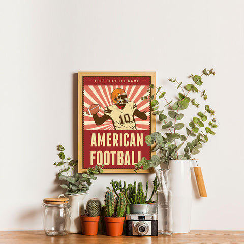 Ezposterprints - Player Dark Red | Retro Sports Series FOOTBALL Posters - 12x16 ambiance display photo sample