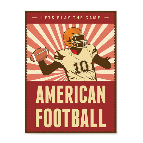Ezposterprints - Player Dark Red | Retro Sports Series FOOTBALL Posters