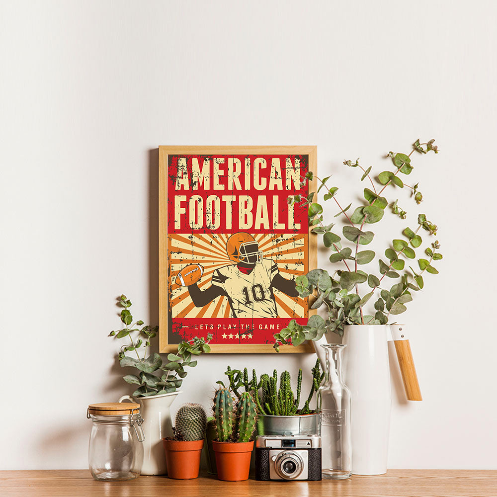 Ezposterprints - Player Red | Retro Sports Series FOOTBALL Posters - 12x16 ambiance display photo sample