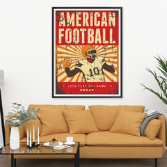 Ezposterprints - Player Red | Retro Sports Series FOOTBALL Posters - 36x48 ambiance display photo sample