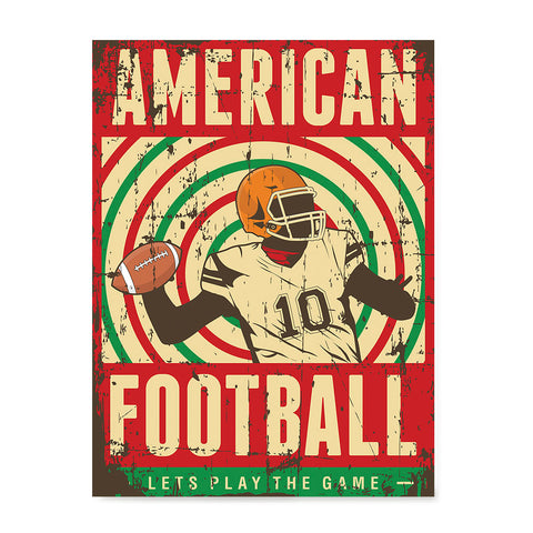 Ezposterprints - Player Red Green | Retro Sports Series FOOTBALL Posters