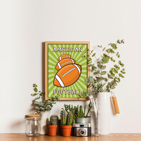 Ezposterprints - Three Balls | Retro Sports Series FOOTBALL Posters - 12x16 ambiance display photo sample