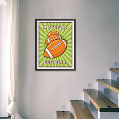 Ezposterprints - Three Balls | Retro Sports Series FOOTBALL Posters - 18x24 ambiance display photo sample